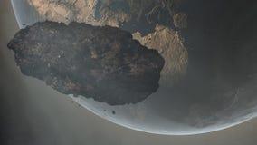 Asteroide sobre la tierra ilustración del vector