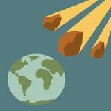 Asteroide y tierra Imagenes de archivo