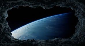 Asteroiden, die nah an Wiedergabeelementen Planet Erde 3D von fliegen Lizenzfreies Stockbild