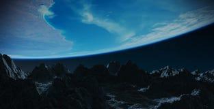 Asteroiden, die nah an Wiedergabeelementen Planet Erde 3D von fliegen Stockbilder