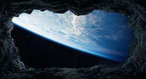 Asteroiden, die nah an Wiedergabeelementen Planet Erde 3D von fliegen Lizenzfreie Stockbilder