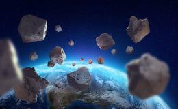 Asteroider nära planetjorden En sikt av jordklotet från utrymme royaltyfri illustrationer