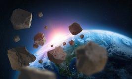 Asteroider nära planetjorden En sikt av jordklotet från utrymme vektor illustrationer