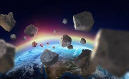 Asteroider nära planetjorden Ozonlager En sikt av jordklotet från utrymme stock illustrationer