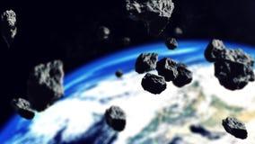 Asteroides que se cierran al planeta de la tierra ilustración del vector