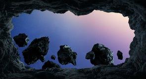 Asteroides que voam perto dos elementos da rendição dos planetas 3D desta Fotografia de Stock Royalty Free