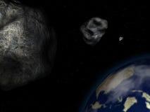 Asteroides y tierra Imagenes de archivo