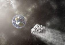 Asteroidflyg in mot jorden Fotografering för Bildbyråer
