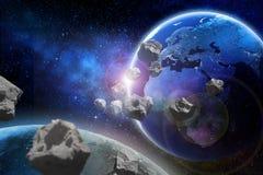 Asteroidi che volano vicino al pianeta Terra Elementi di questa immagine ammobiliati dalla NASA illustrazione vettoriale
