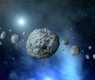 Asteroidi della cinghia nello spazio illustrazione vettoriale