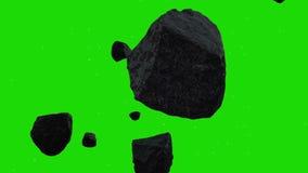 Asteroids που αιωρούνται στο διάστημα σε ένα πράσινο υπόβαθρο οθόνης ελεύθερη απεικόνιση δικαιώματος