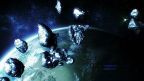 Asteroids που πετούν κοντά στη γη Όμορφη τρισδιάστατη ζωτικότητα της αστεροειδούς ζώνης HD 1080 διανυσματική απεικόνιση