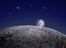 Asteroids. Evocation of asteroids in space on dark blue and stars background Stock Photo