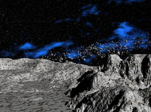 Asteroids above planet Stock Image