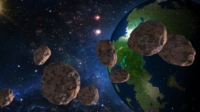 Asteroids approaching Earth. Elements of this image furnished by NASA. Meteorite is approaching the planet. Dangerous rapprochement royalty free illustration