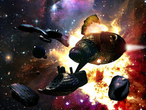 Asteroids colliding. Science fiction spaceships near a several asteroids. One of the spaceships collides an asteroid causing explosion Royalty Free Stock Photo