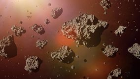 A group of asteroids lit by the golden Sun, asteroid belt space scene 3d rendering. Asteroids in deep space lit by a star vector illustration