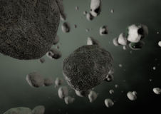 Asteroids field. Render of an asteroids field  in empty space Stock Photography