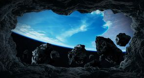 Asteroids flying close to planet Earth 3D rendering elements of. Dark asteroids flying close to planet Earth view from a cave 3D rendering elements of this image Stock Image