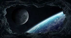 Asteroids flying close to planet Earth 3D rendering elements of. Dark asteroids flying close to planet Earth view from a cave 3D rendering elements of this image stock illustration