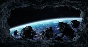 Asteroids flying close to planet Earth 3D rendering elements of. Dark asteroids flying close to planet Earth view from a cave 3D rendering elements of this image vector illustration