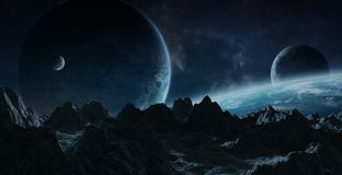 Asteroids flying close to planets 3D rendering elements of this Stock Images