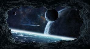 Asteroids flying close to planets 3D rendering elements of this. Dark asteroids flying close to planets view from a cave 3D rendering elements of this image stock illustration