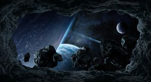 Asteroids flying close to planets 3D rendering elements of this Stock Photography