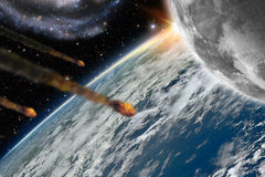 Asteroids flying over planet earth Stock Image
