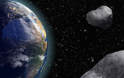 Asteroids are Flying to the Earth Royalty Free Stock Photos