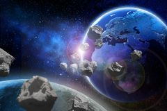 Asteroids flying close to the planet Earth. Elements of this image furnished by NASA vector illustration