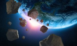 Asteroids near the planet Earth. A view of the globe from space stock illustration