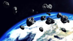 The asteroids ready to attack on the Earth Planet Royalty Free Stock Photos