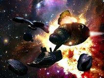 asteroids som kolliderar royaltyfri illustrationer