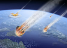 Asteroids strike Earth. End of the World vector illustration