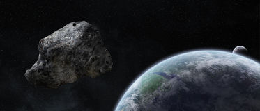 Asteroids threat over planet earth Royalty Free Stock Photo
