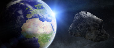 Asteroids threat over planet earth Stock Image