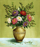 Asters in a amphora, paintings. Picture, still-life, bouquet asters in a clay vintage amphora. Hand draw oil paintings on a canvas Royalty Free Stock Image