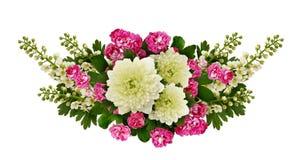 Asters, bird-cherry tree flowers and hawthorn flowers arrangemen Royalty Free Stock Image