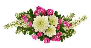 Asters, bird-cherry tree flowers and hawthorn flowers arrangemen Stock Photography