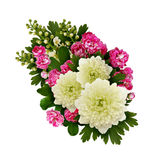 Asters, bird-cherry tree flowers and hawthorn flowers arrangemen Stock Photos