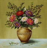 Asters in a clay amphora. Picture oil paints on a canvas: a bouquet asters in a clay amphora Stock Photos