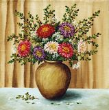Asters in a clay pot Stock Photos