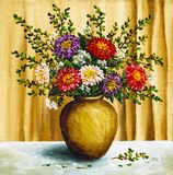 Asters in a clay pot Stock Images