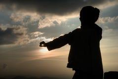 asterysku ręki słońce Zdjęcie Royalty Free