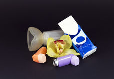 Asthma. Two Spray Inhaler whit spacer for children and kleenex for asthma and allergies Royalty Free Stock Photography