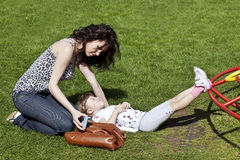 Asthma. Mum helping her daughter after having asthma fit royalty free stock photography