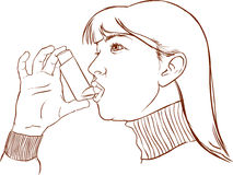 Asthma. Woman having asthma using the asthma inhaler for being Royalty Free Stock Images