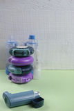 Asthma, allergie, illness relief concept, salbutamol inhalers Royalty Free Stock Photos