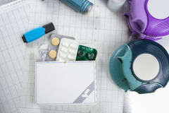 Asthma, allergie, illness relief concept, salbutamol inhalers an Stock Photos